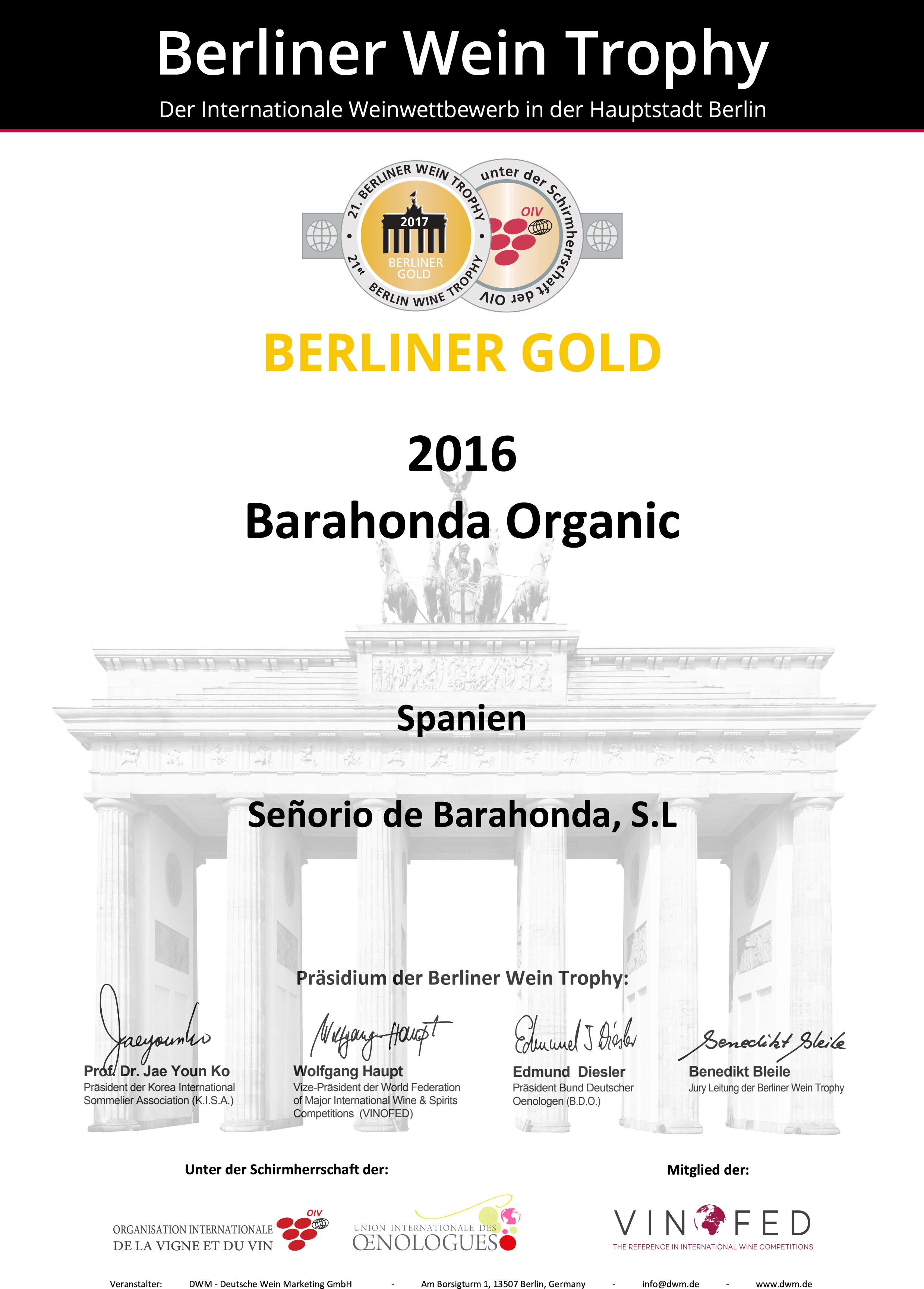 Berliner Wein GOLD Trophy 2017