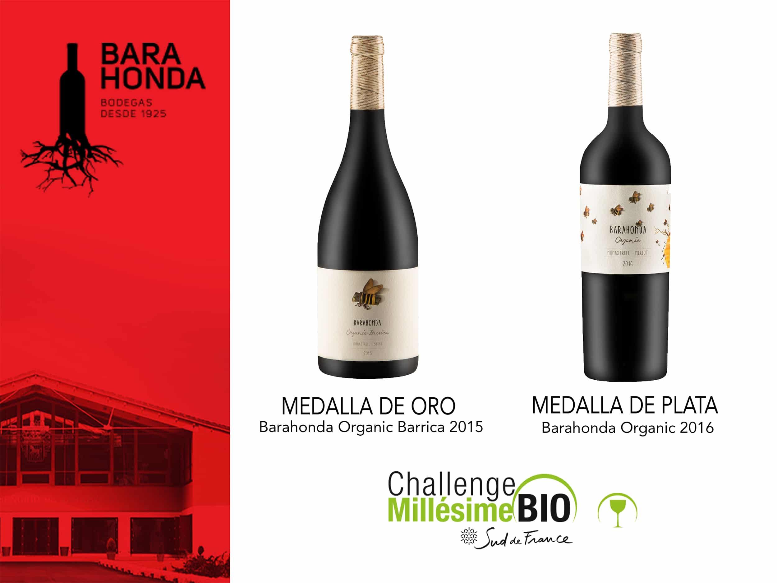 Medallas de oro y plata para los vinos Barahonda Organic en el Challenge Millésime Bio 2018