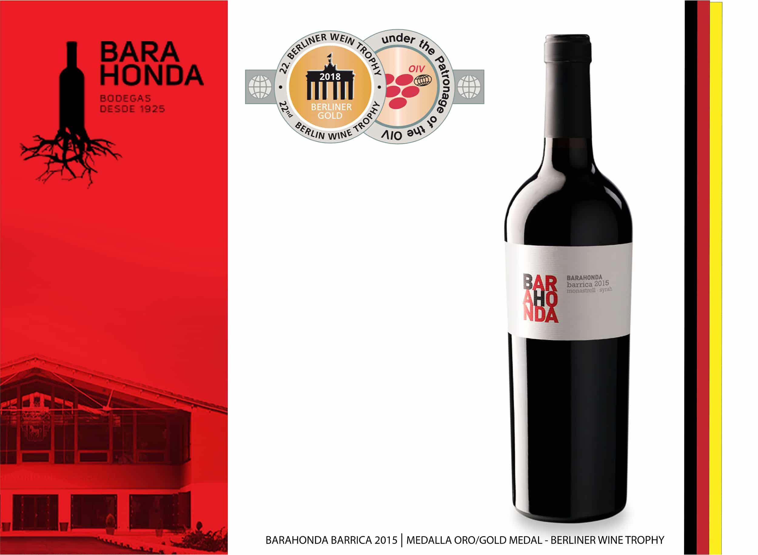 Barahonda Barrica 2015, medalla de oro en Berliner Wein Trophy 2018
