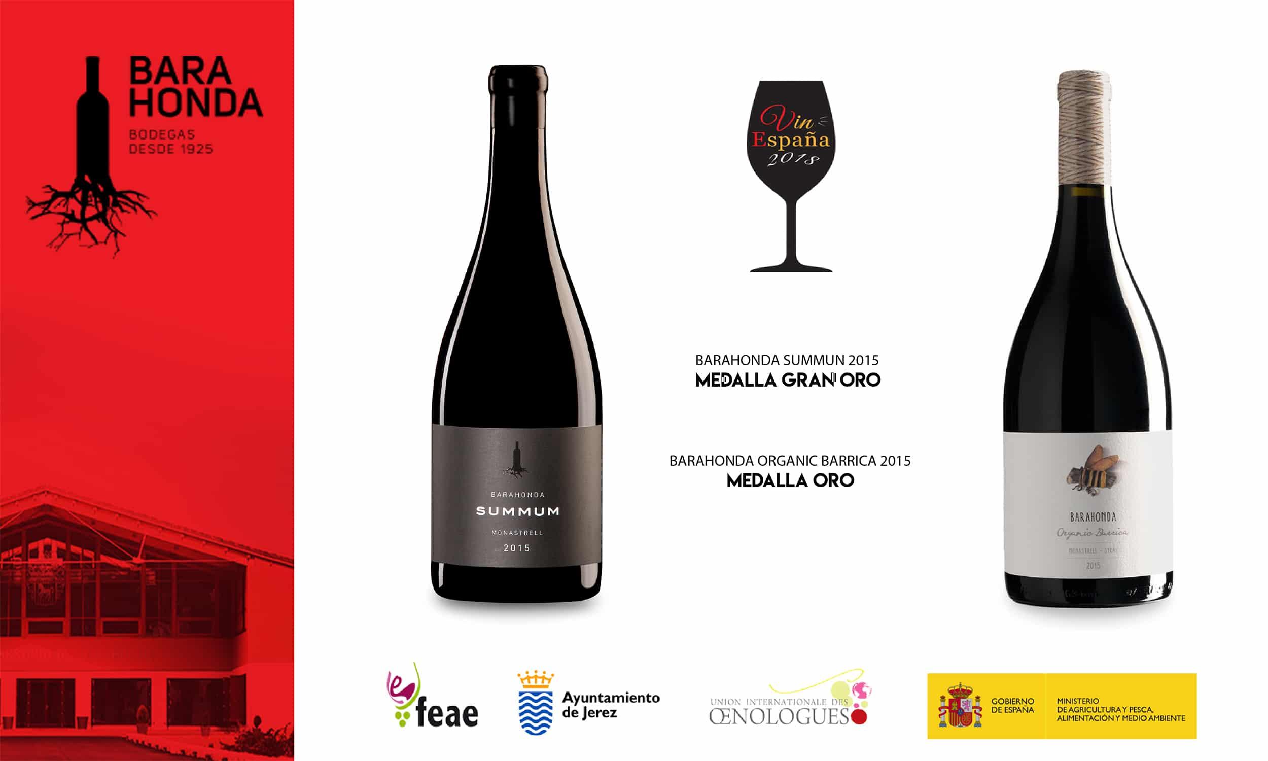 Los vinos Summun 2015 y Organic Barrica 2015 premiados en Vinespaña 2018