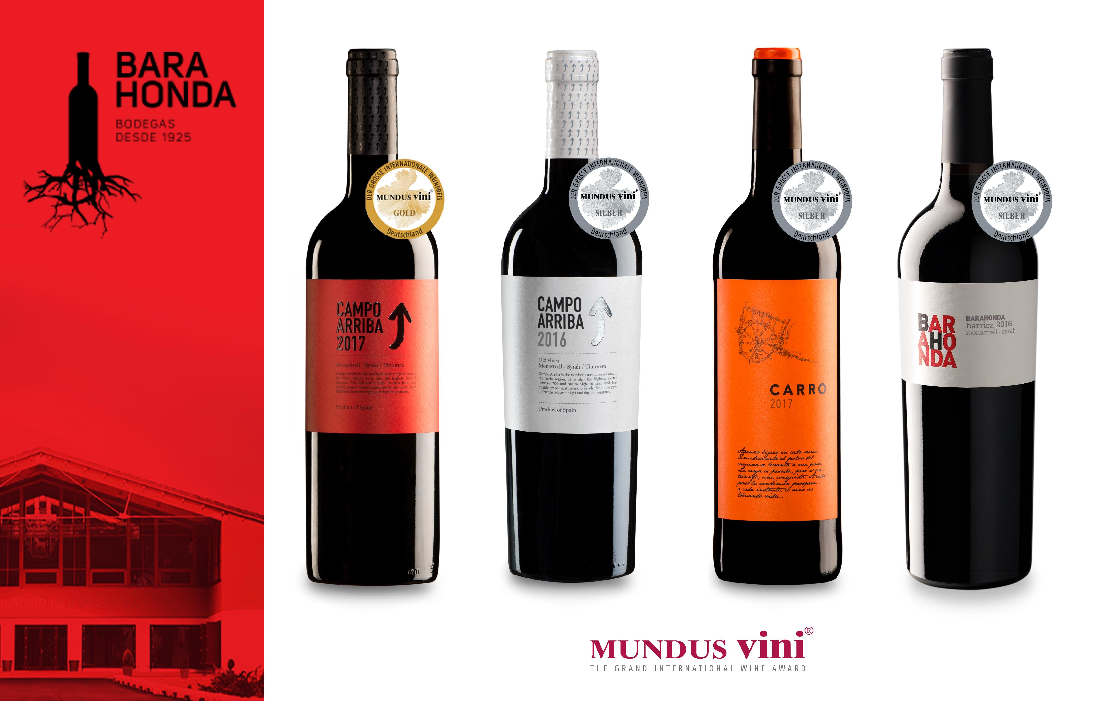 Cuatro vinos de Barahonda premiados en Mundus Vini